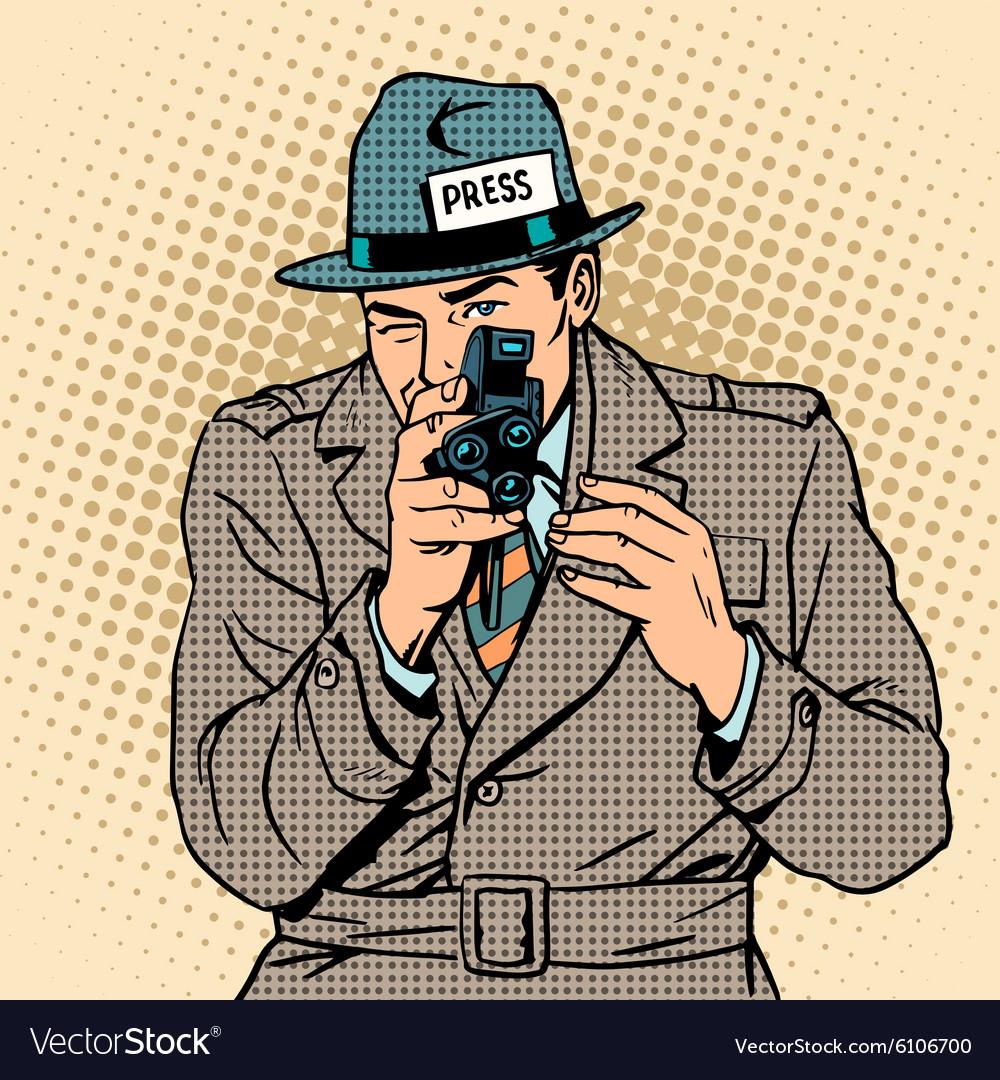 1a1ddd484df69 Journalist takes on retro camera Paparazzi Vector Image