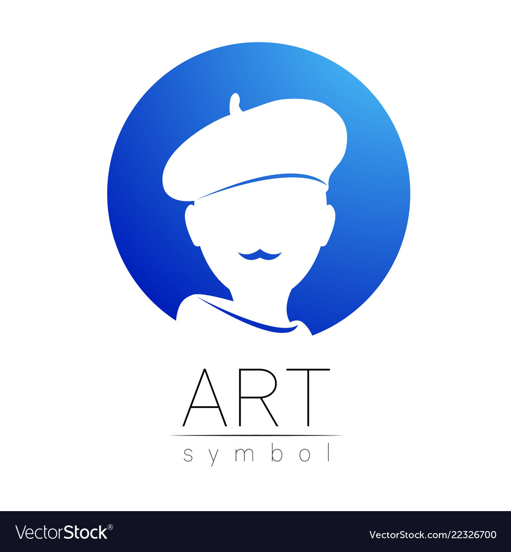 Modern Logo Sign Of Human Artist Silhouette In A Vector Image
