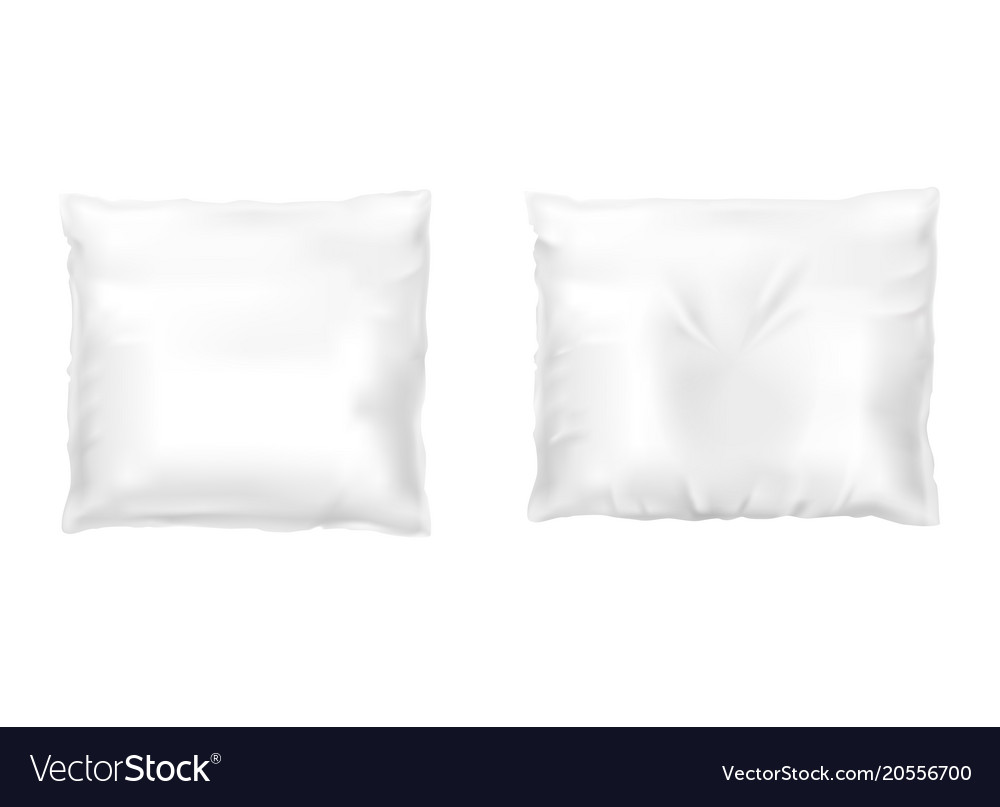 Realistic set with square white pillows