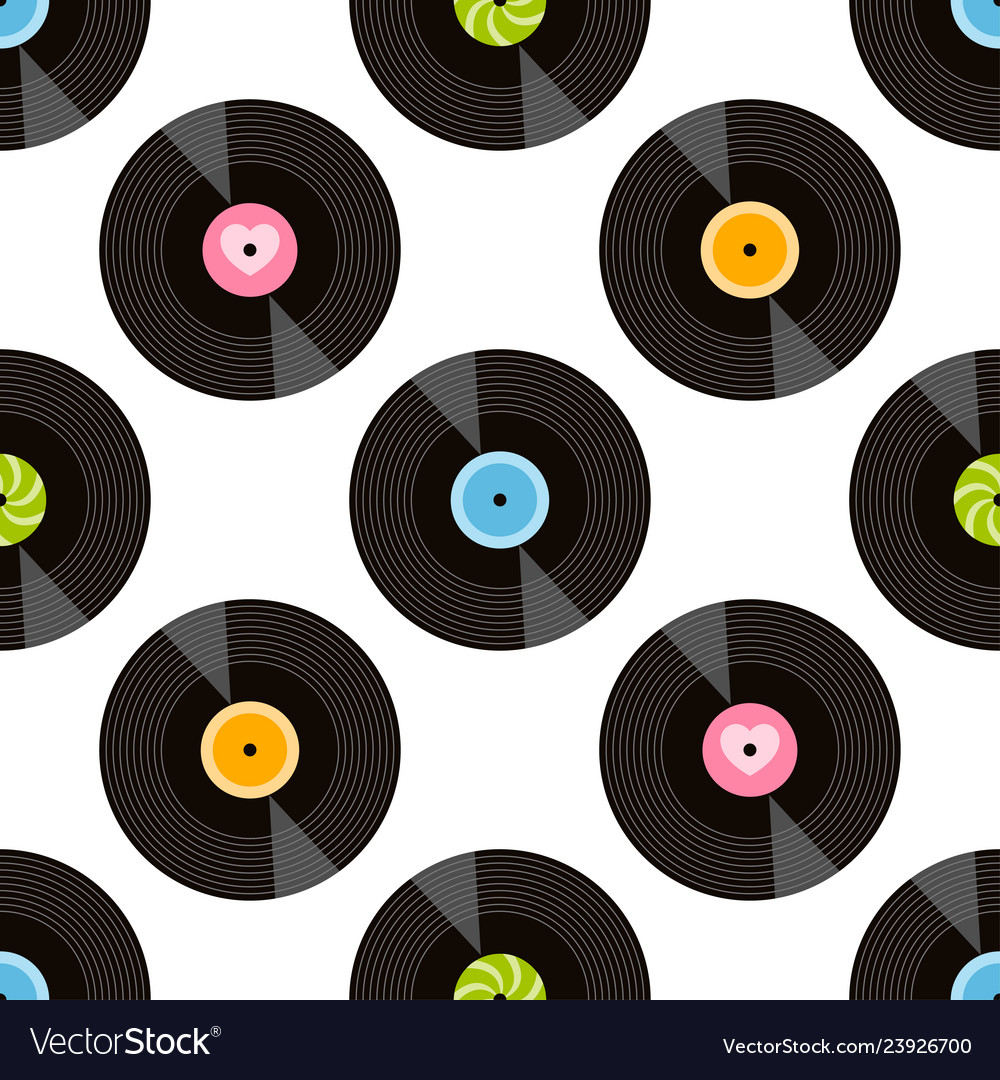 Seamless pattern with vinil recordson white