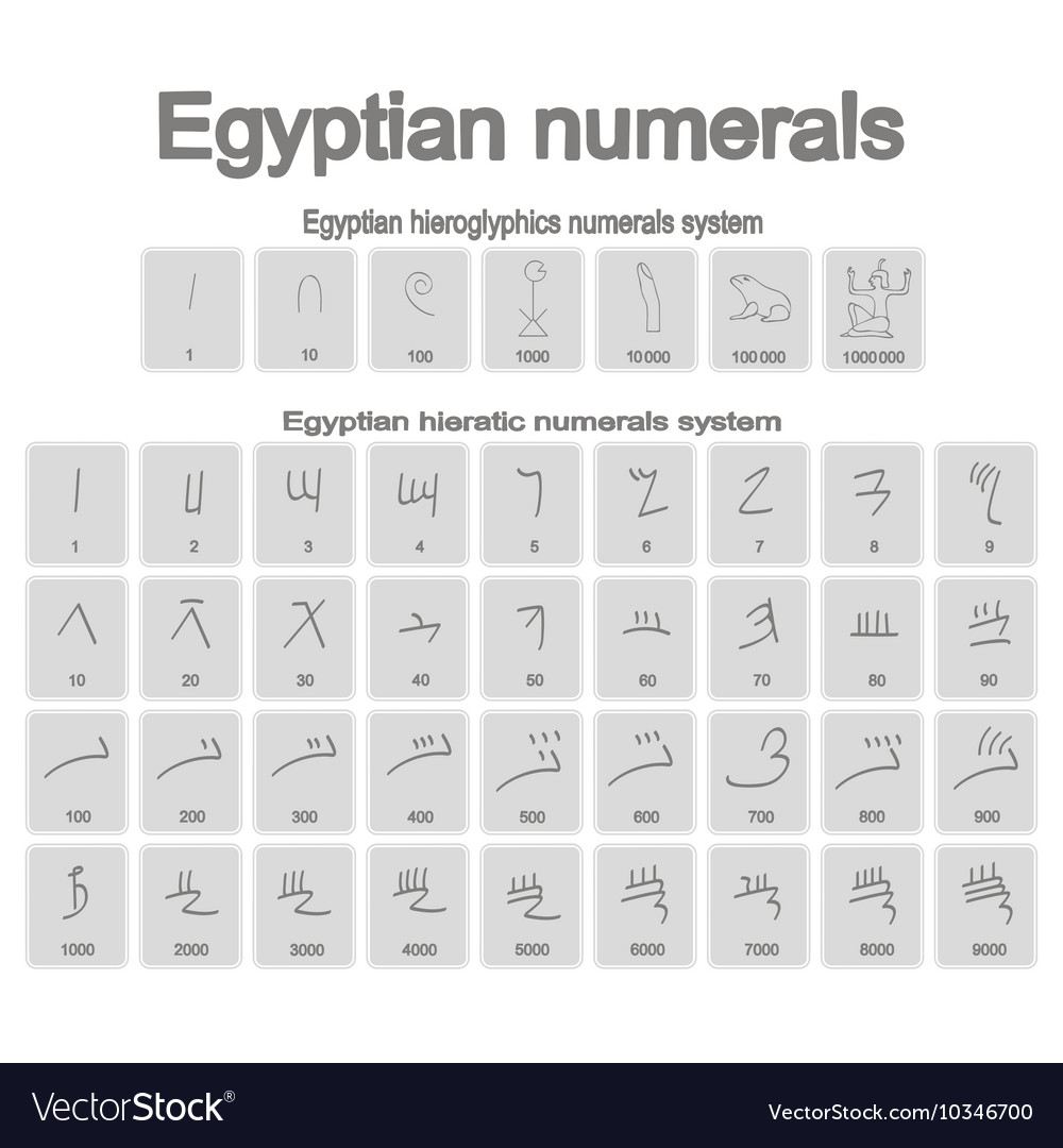 Set of monochrome icons with ancient egyptian nume