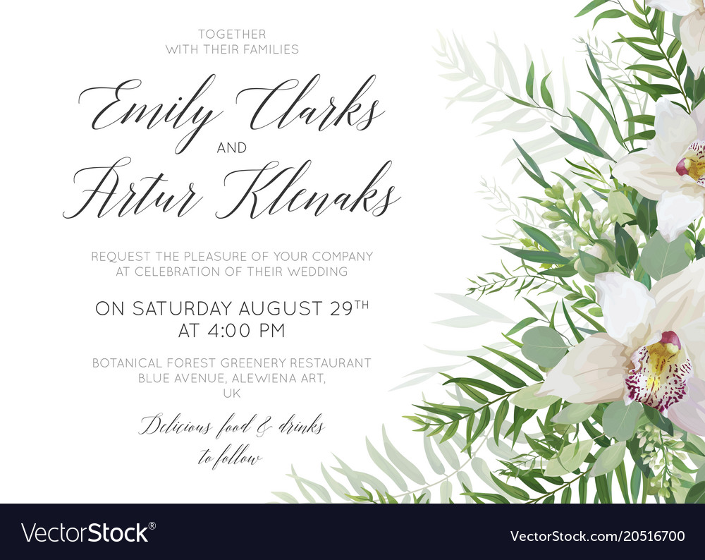 Wedding invite save the date card delicate design Vector Image