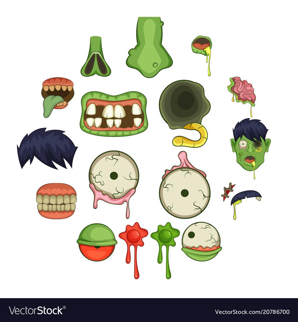 Zombie parts icons set cartoon style