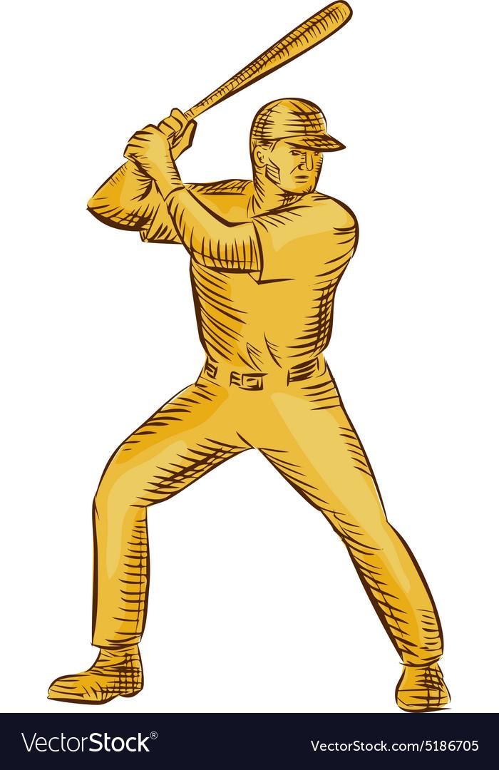 Baseball Batter Batting Bat Etching vector image