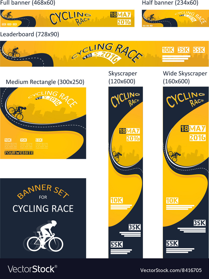 Bicycle race event different size banner set