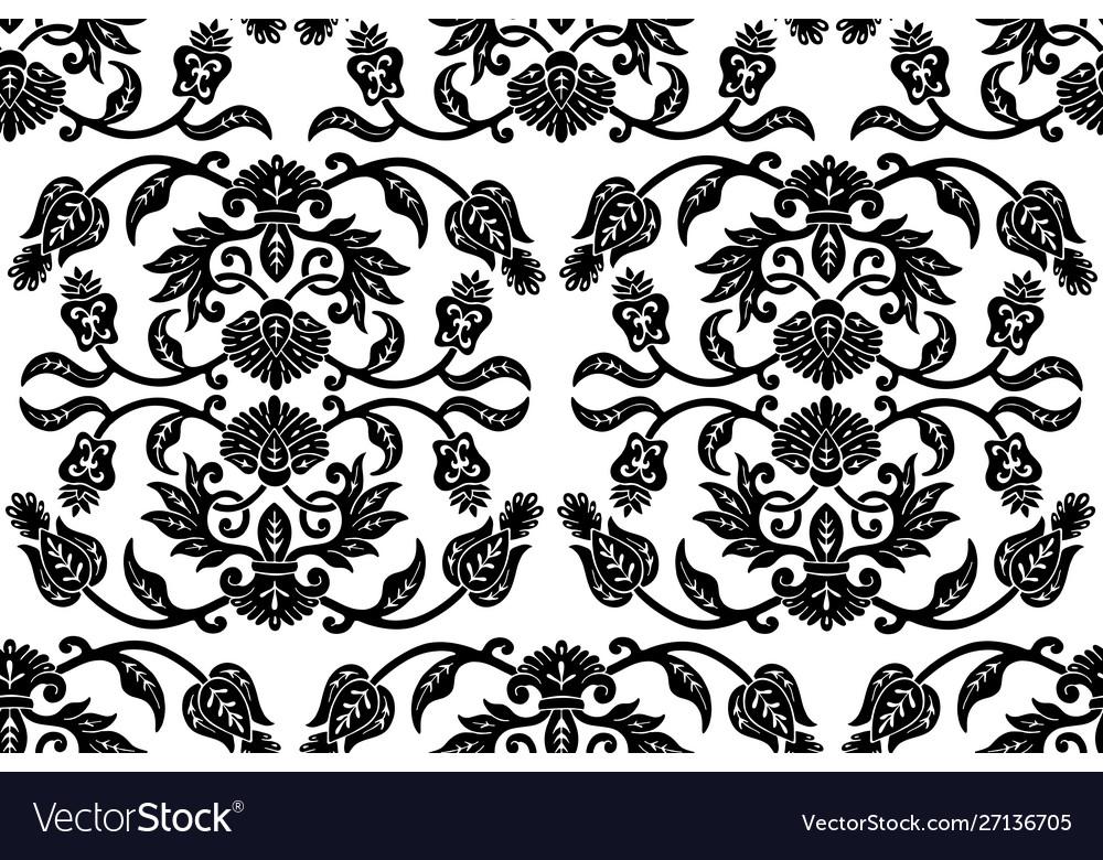 Black floral ethnic seamless pattern