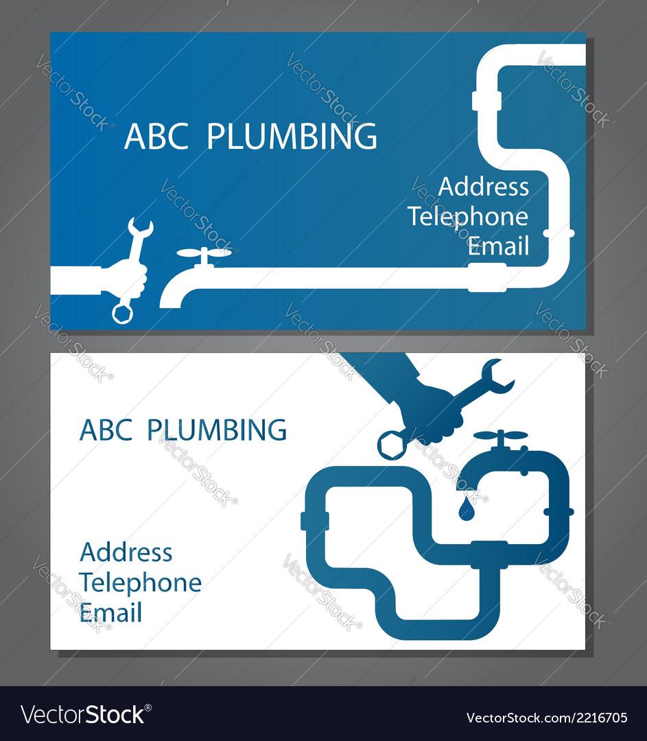 Business Card For Repair Plumbing Royalty Free Vector Image