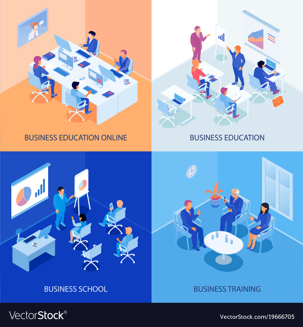 Business education isometric design concept vector image