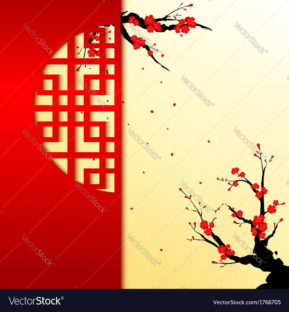 Pleasing Chinese New Year Cherry Blossom Greeting Card Vector Image Personalised Birthday Cards Paralily Jamesorg