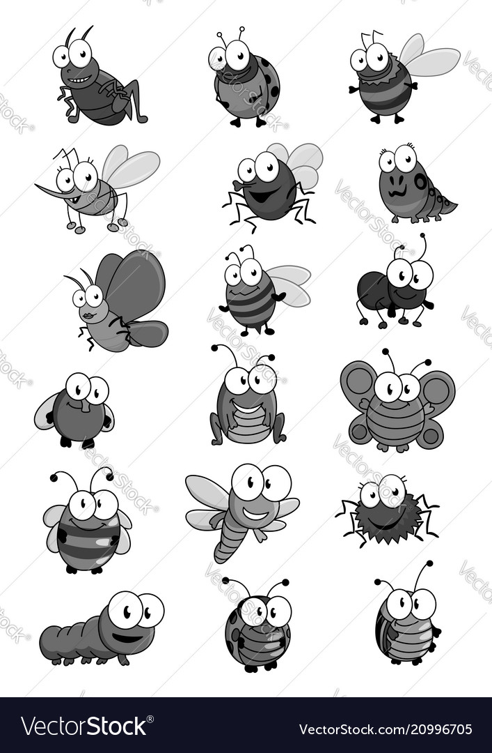 Insects and bugs cartoon comic icons set
