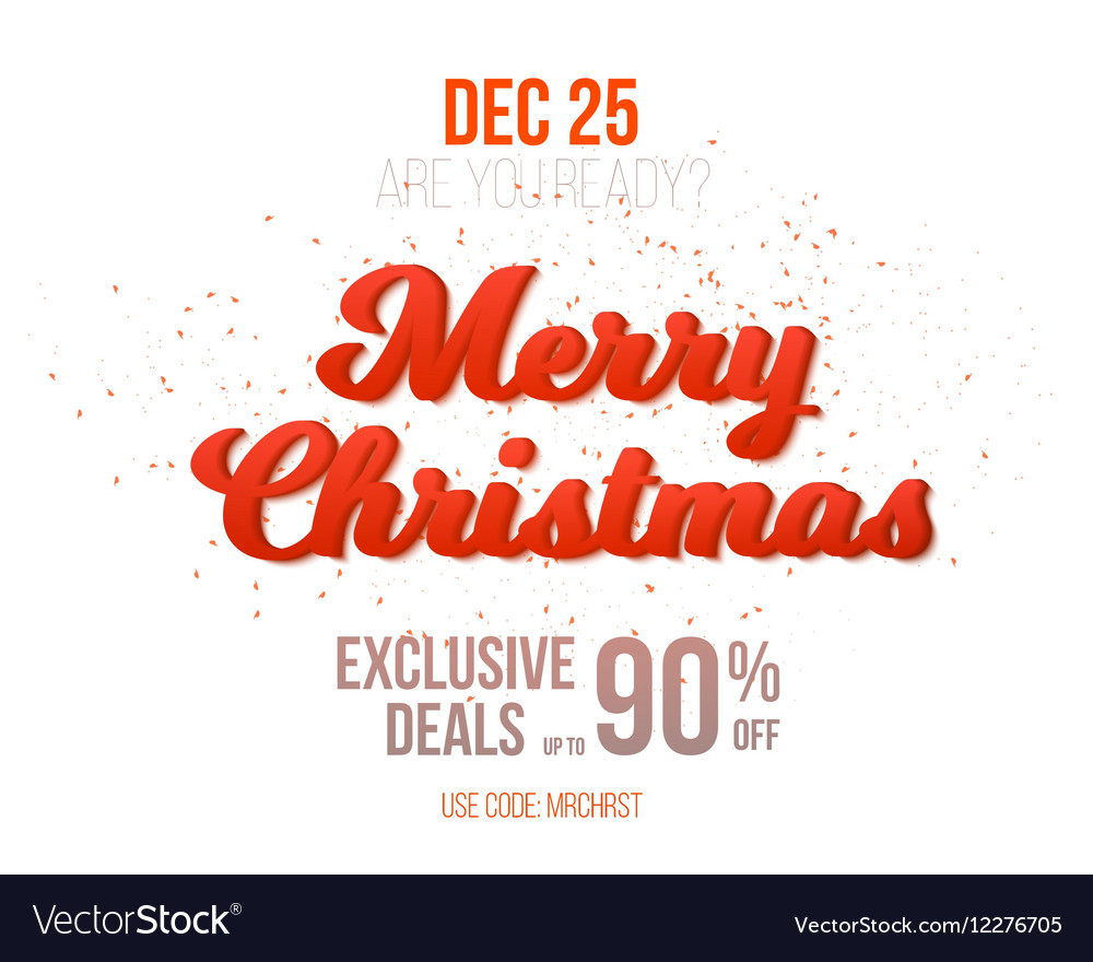 Merry Christmas Sale Poster Template Isolated