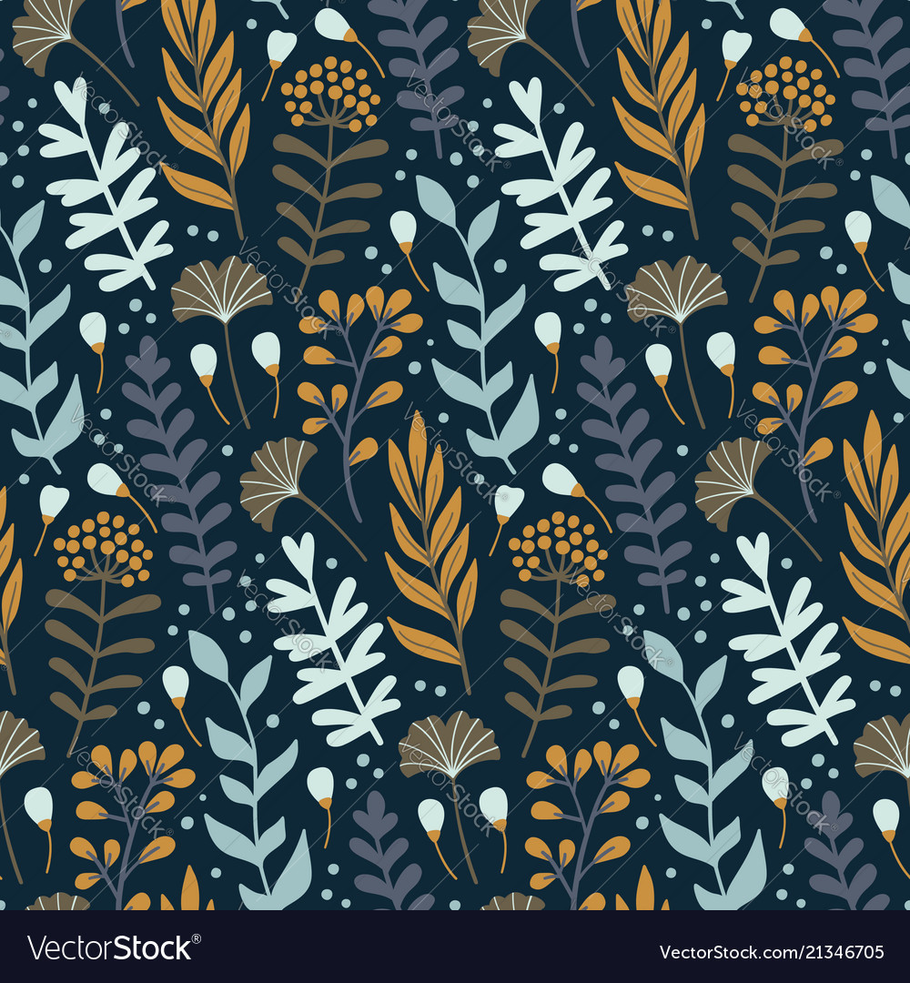 Modern seamless pattern with wild floral elements