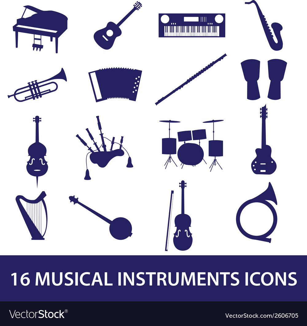 Musical instruments icon set eps10