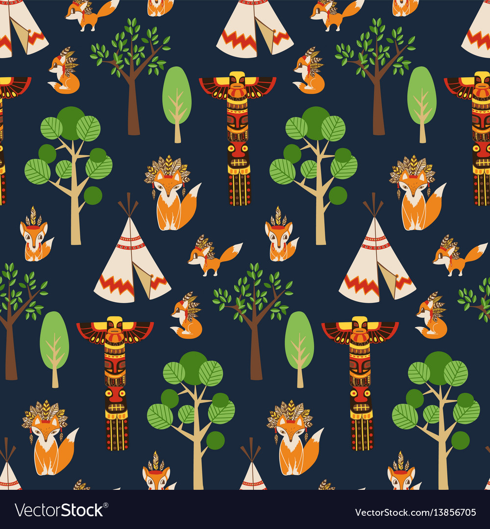 Seamless pattern texture with foxes in