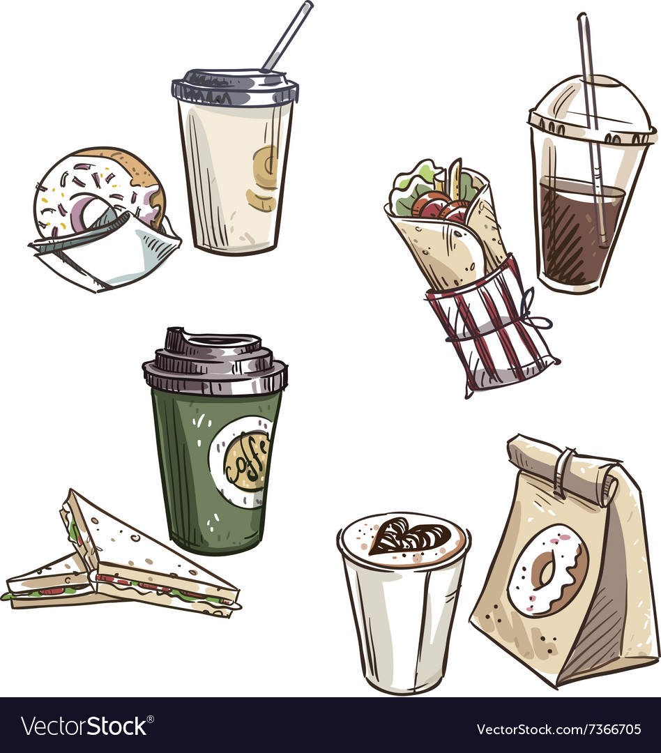 Selection of takeaway snacks