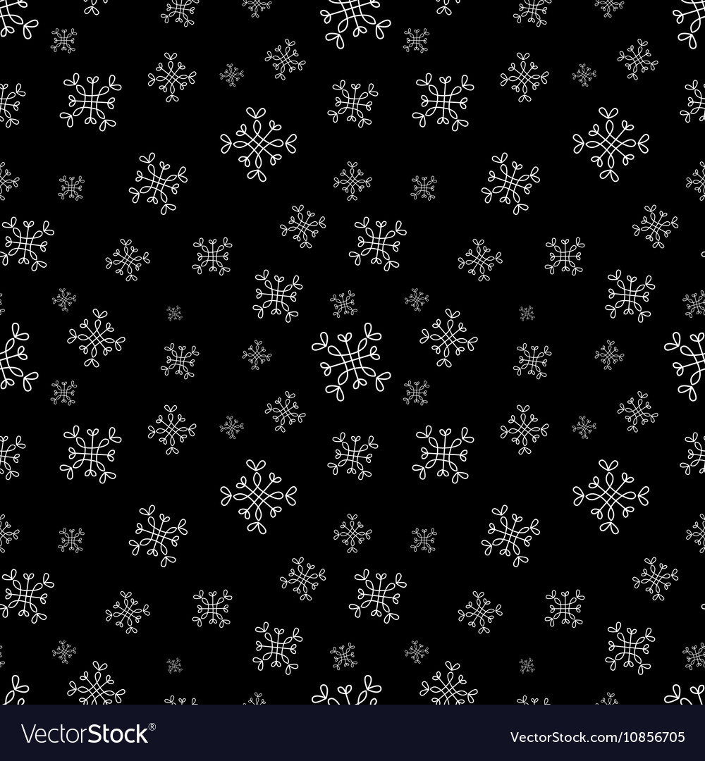 Snowflakes seamless pattern Black christmas