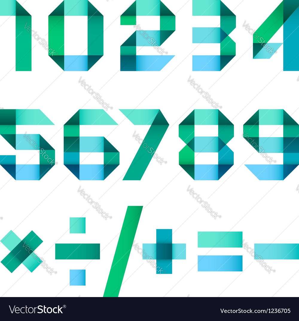 Spectral letters folded of paper - Arabic numerals vector image
