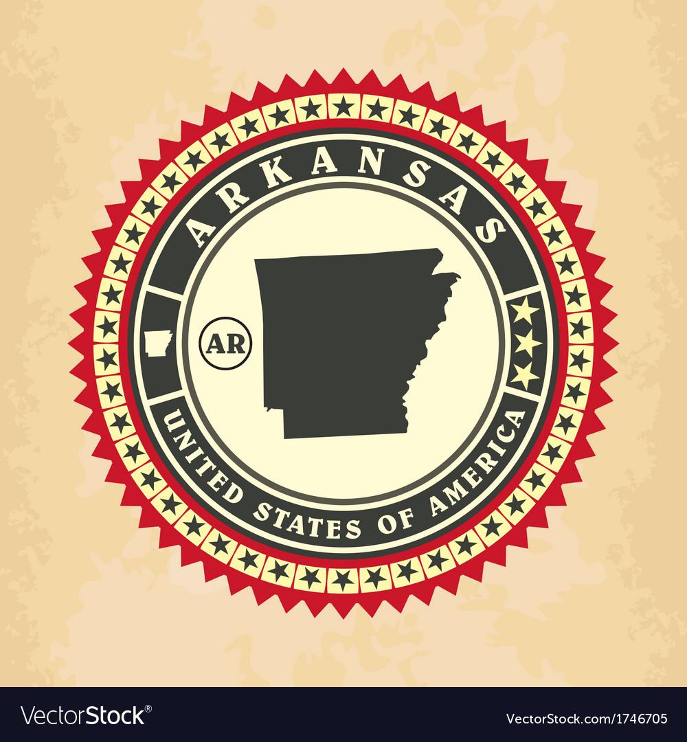 Vintage label-sticker cards of Arkansas vector image