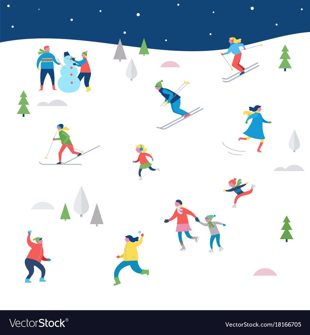 Winter sport scene with people having fun