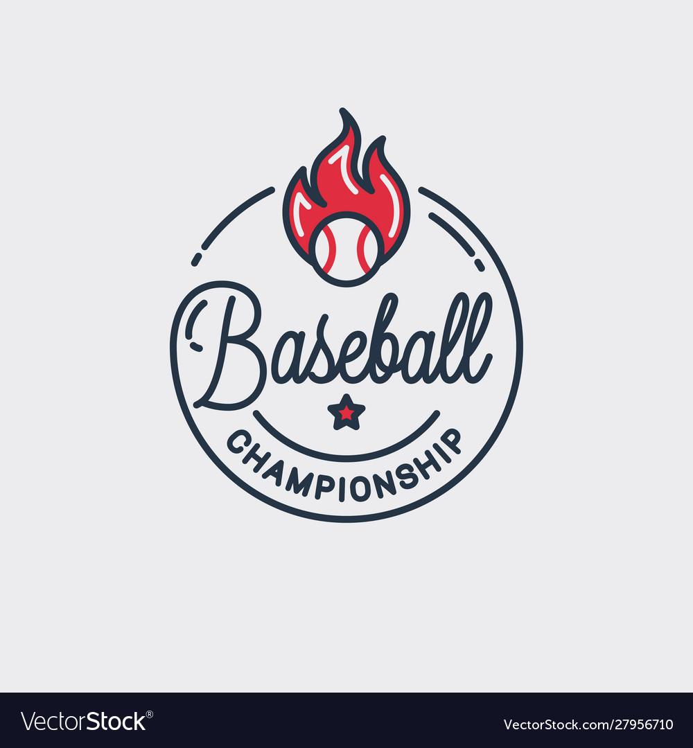 Baseball championship logo round linear ball