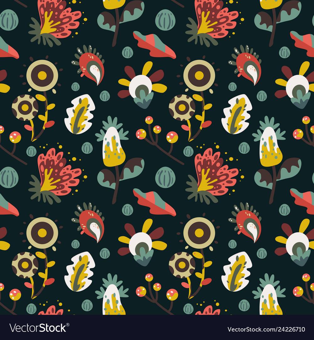Dark fantasy flowers pattern on black background