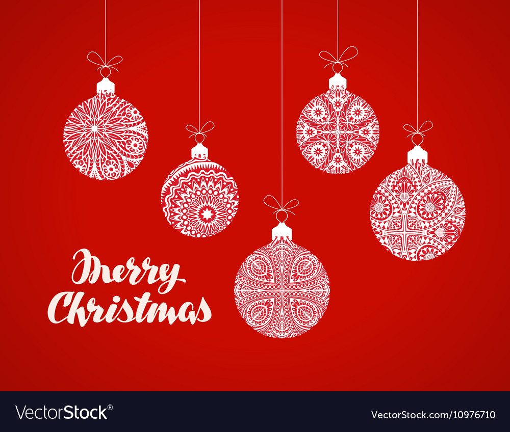 Decorative Christmas balls Xmas greeting card Vector Image