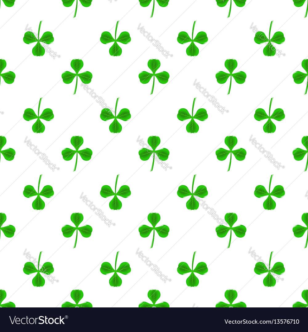 Green clover seamless pattern shamrock background vector image