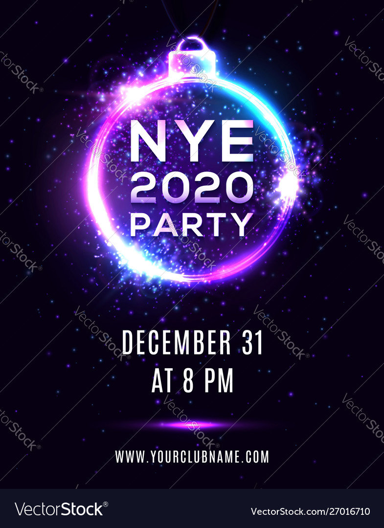new year eve 2020 party poster on blue background vector image vectorstock