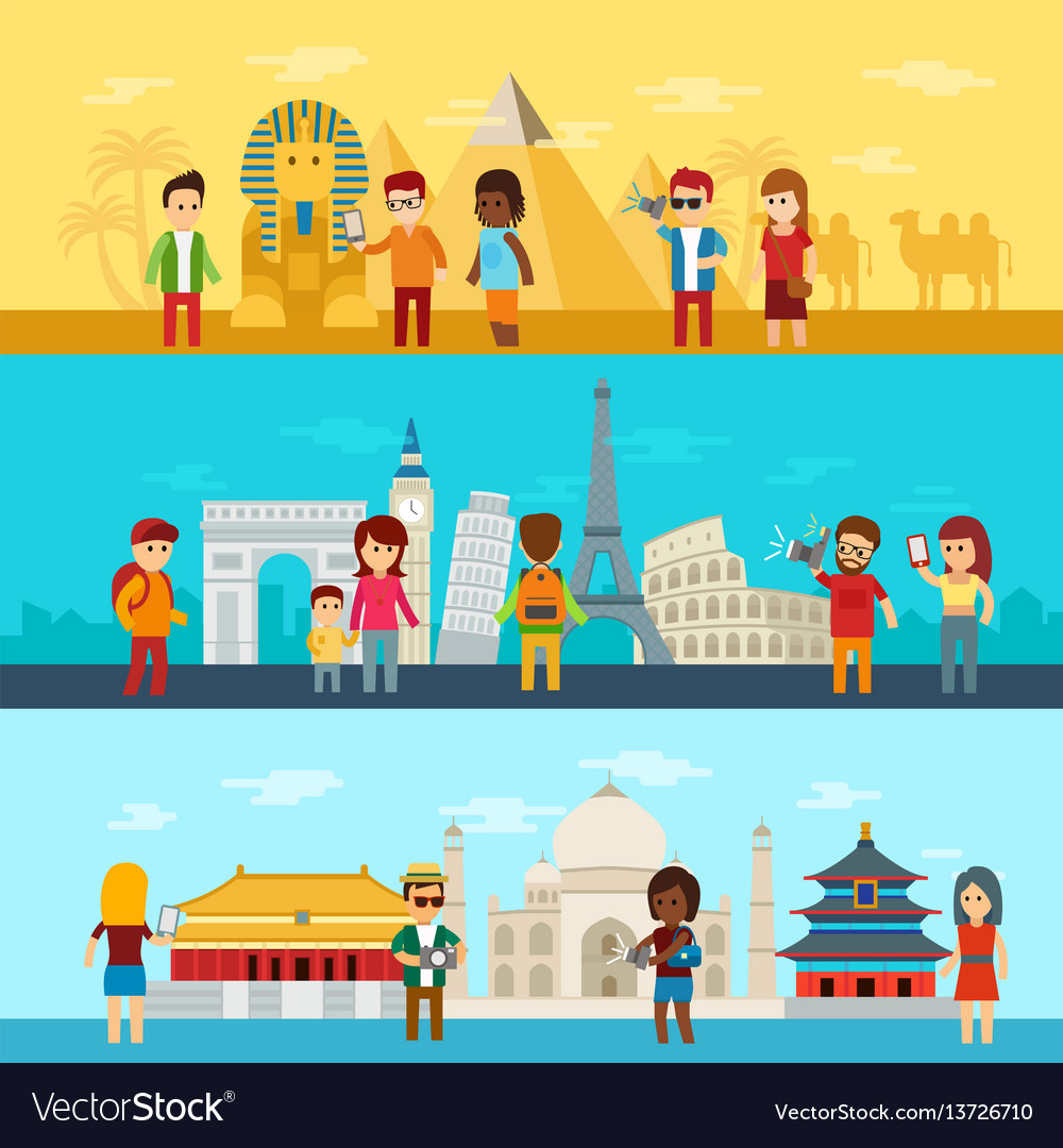People travel around world tourists looking and
