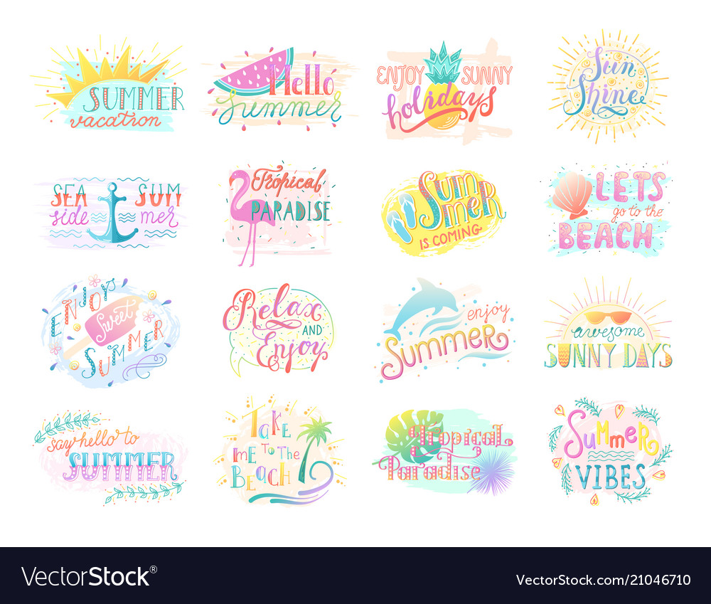Set summer badge lettering positive quote