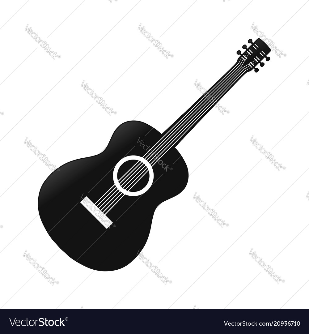 Simple acoustic guitar silhouette symbol design