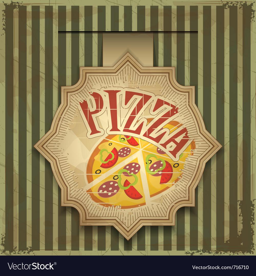 Vintage card menu - pizza label vector image