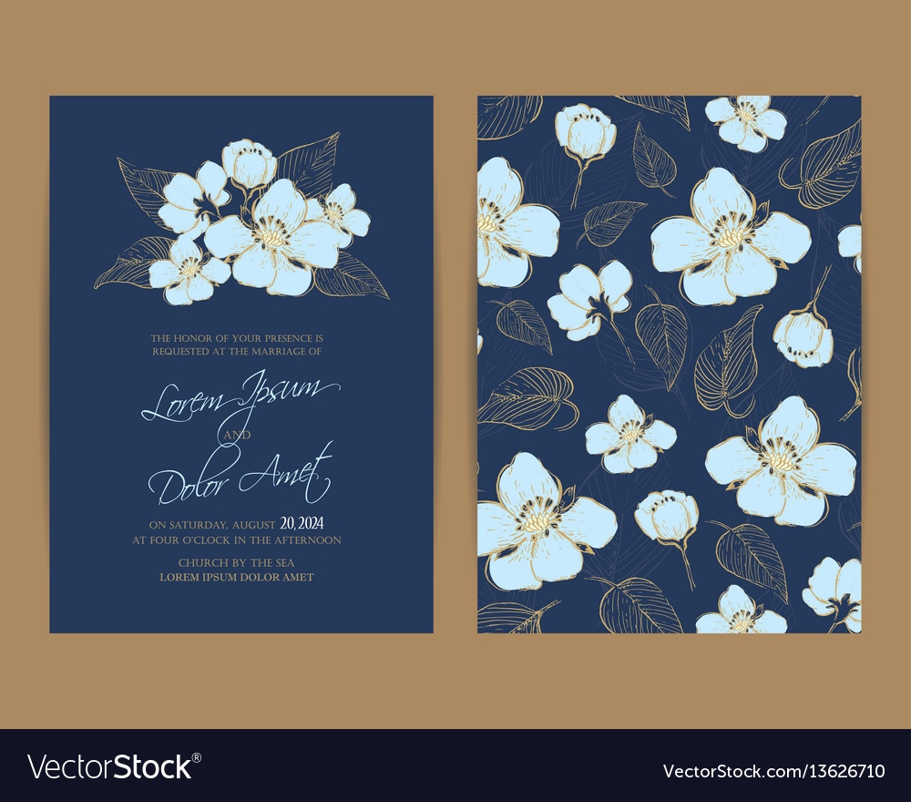 Wedding invitation floral background vector image