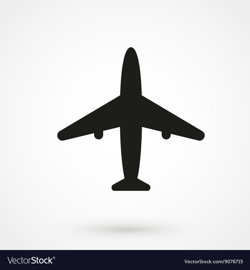 Airplane Icon Black On White Background Royalty Free Vector