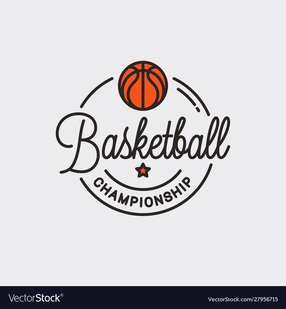 Basketball championship logo round linear ball
