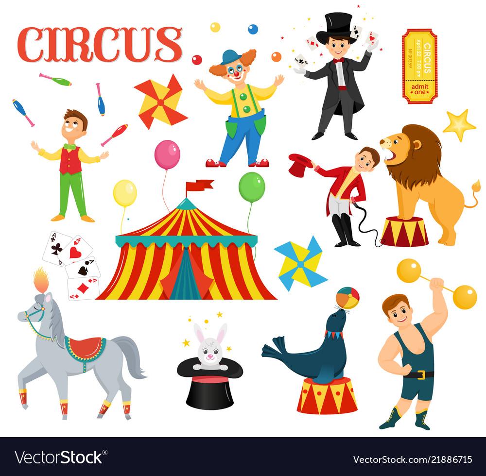 Big set of cartoon colorful circus artists