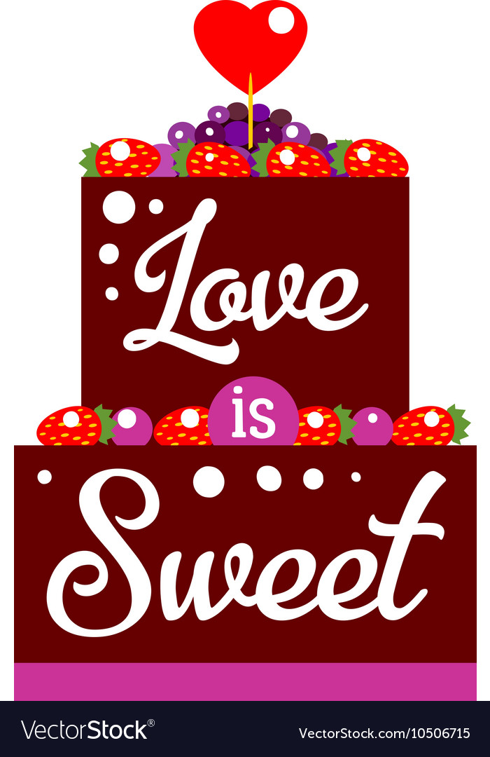Chocolate cake with heart vector image