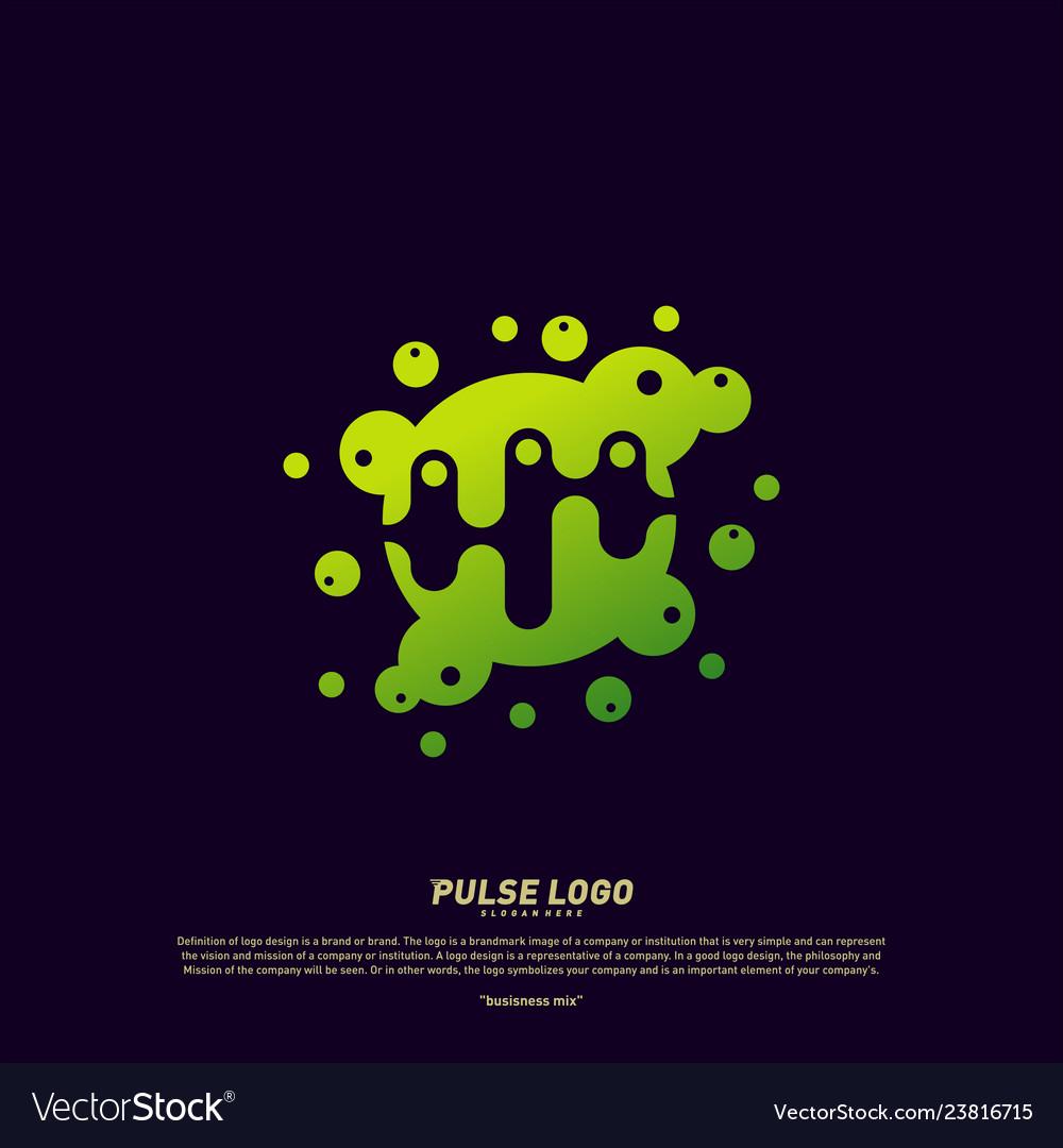 Colorful pulse logo design concept people beat