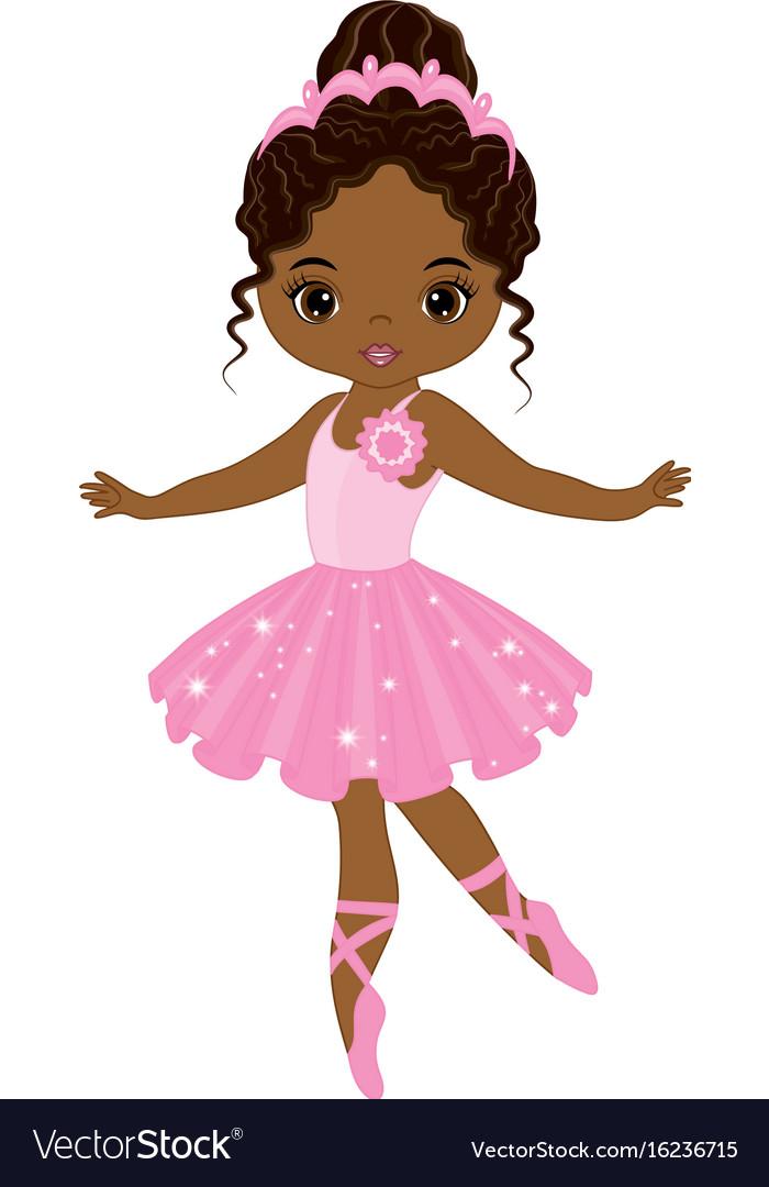 cute little african american ballerina royalty free vector rh vectorstock com ballerina vector silhouette ballerina vector png
