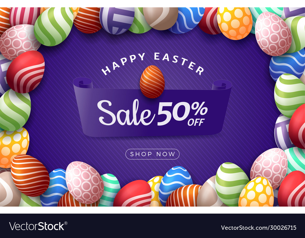 Easter egg horizontal banner easter card