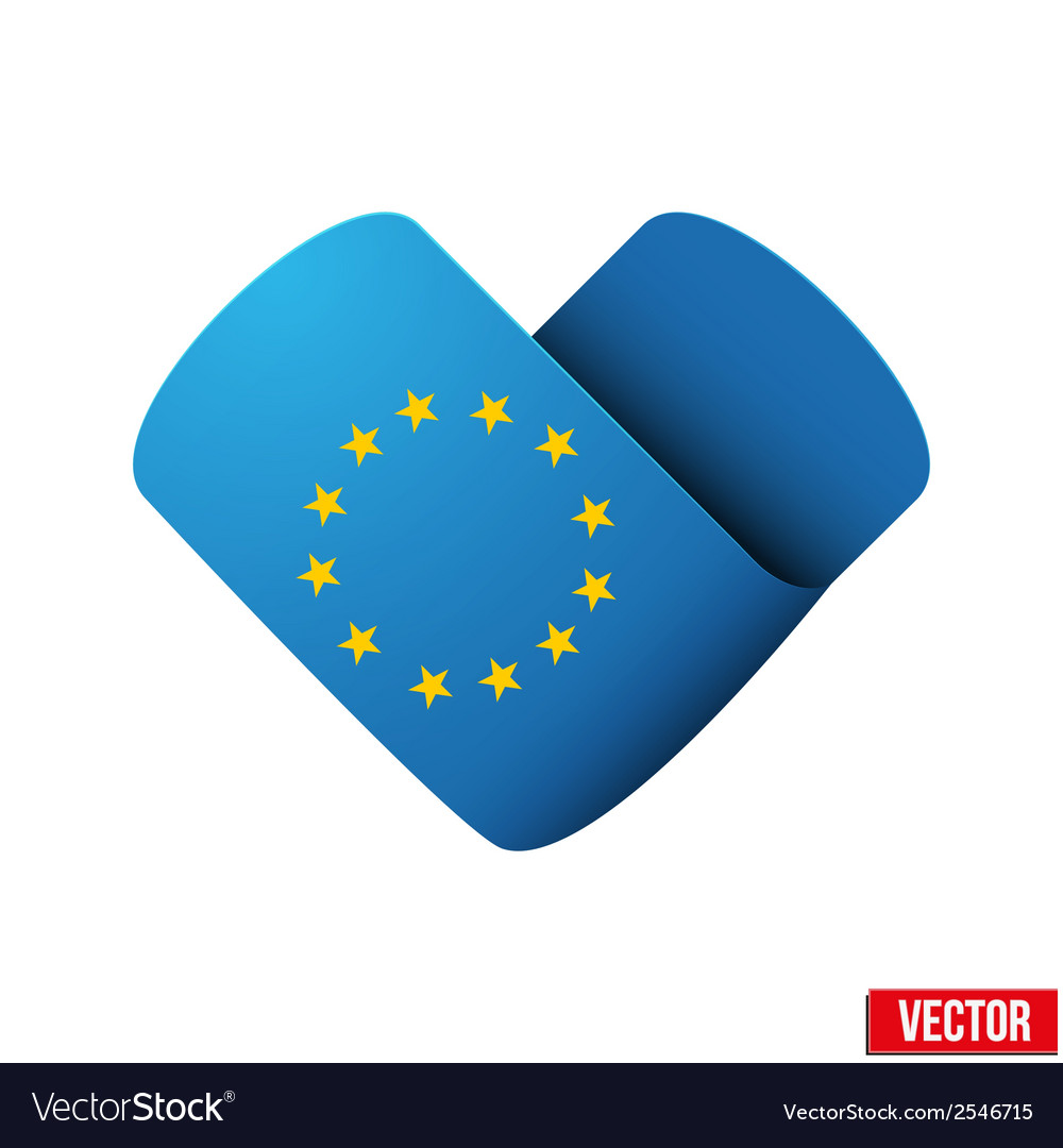 Flag icon in the form of heart I love Europe