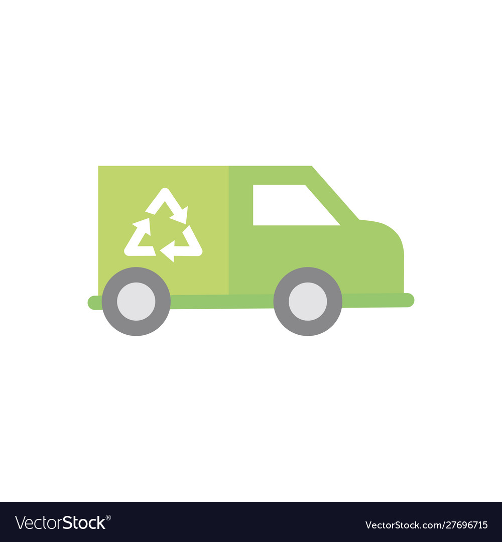 Garbage truck recycle green energy icon