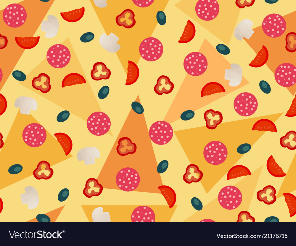 Pizza seamless pattern vegetables ingredients