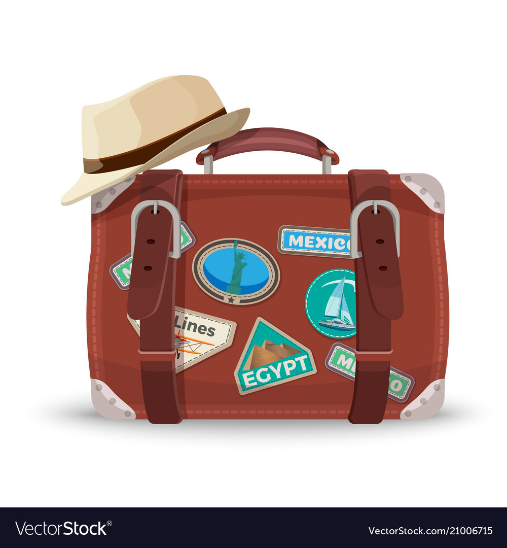Retro suitcase with travel stickers and fedora hat vector image 3f288ddcb55