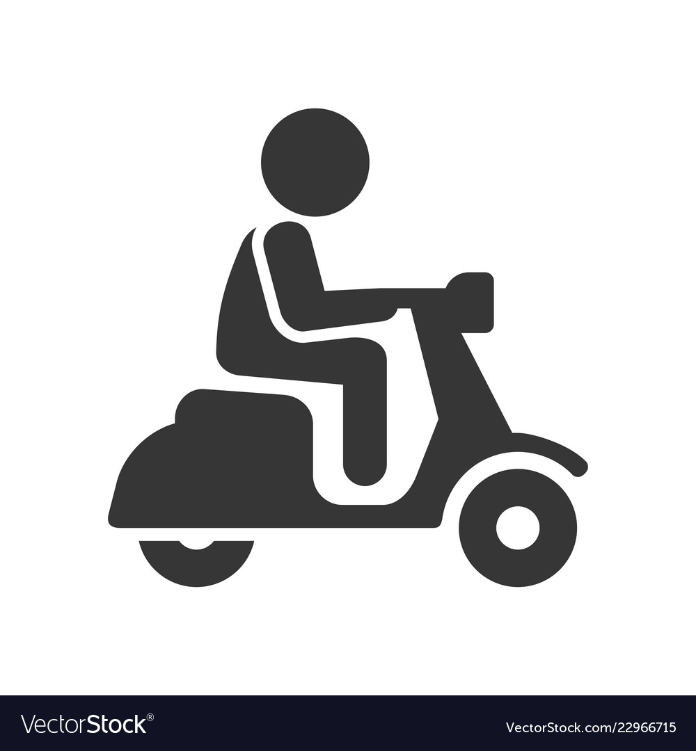 Scooter driver stick figure man icon on white