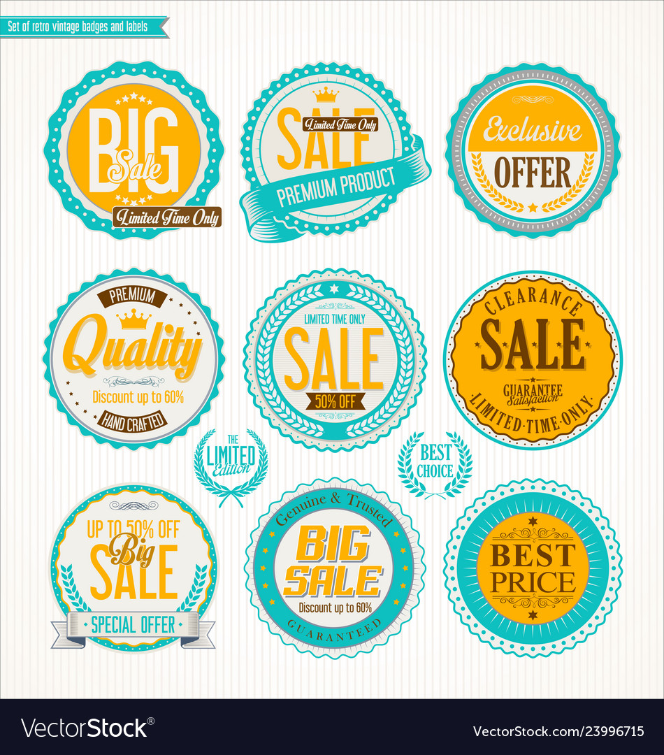 Set of retro vintage blue and yellow labels and