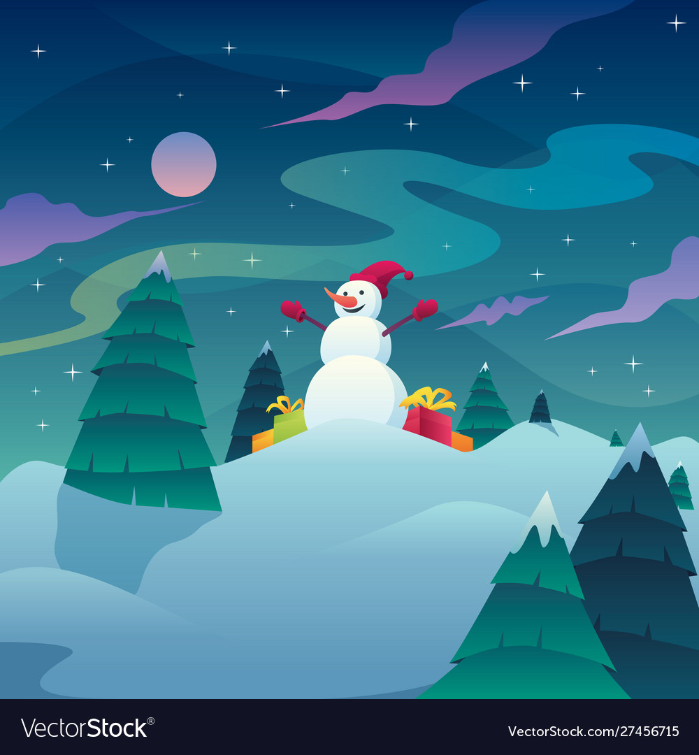 Snowman christmas landscape
