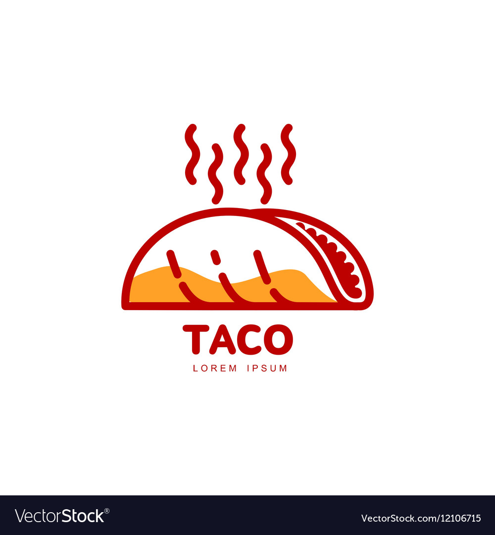 Stylized hot freshly made Mexican taco logo