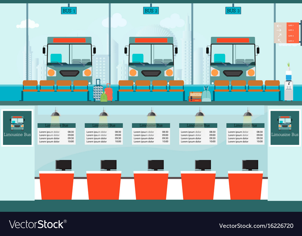 Bus terminal with bus limousine with counter vector image