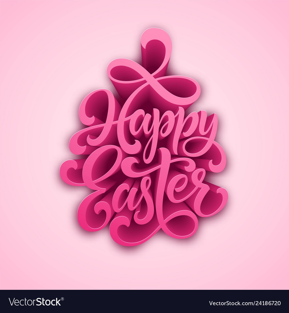 Happy easter handwritten lettering holiday